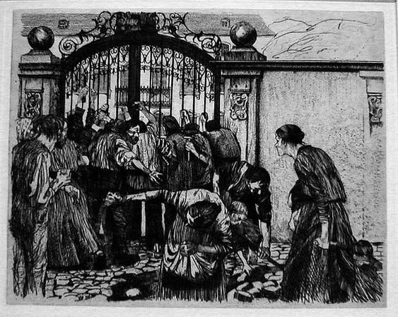 Käthe Kollwitz, The Weavers' Revolt, Riot, 1894: