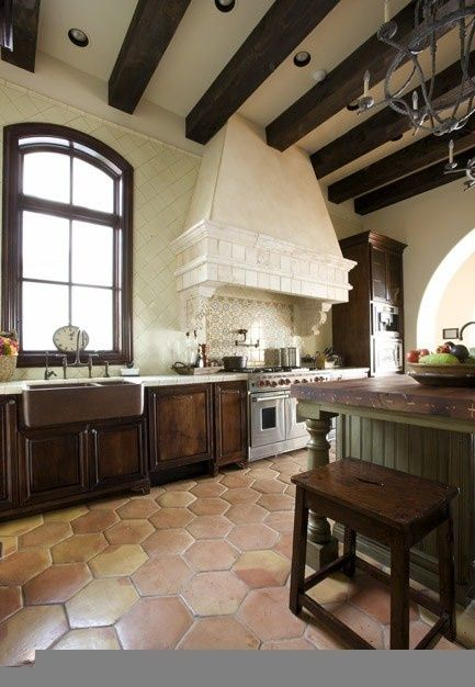 farm sink in spanish kitchen beautiful kitchen with the saltillo tile home design. Black Bedroom Furniture Sets. Home Design Ideas
