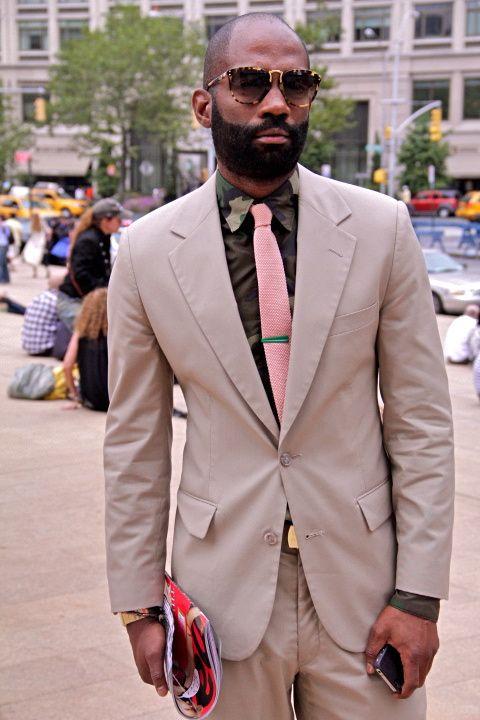 Tan Suit Pink Tie Fatigue Shirt Brown Shirt Suited