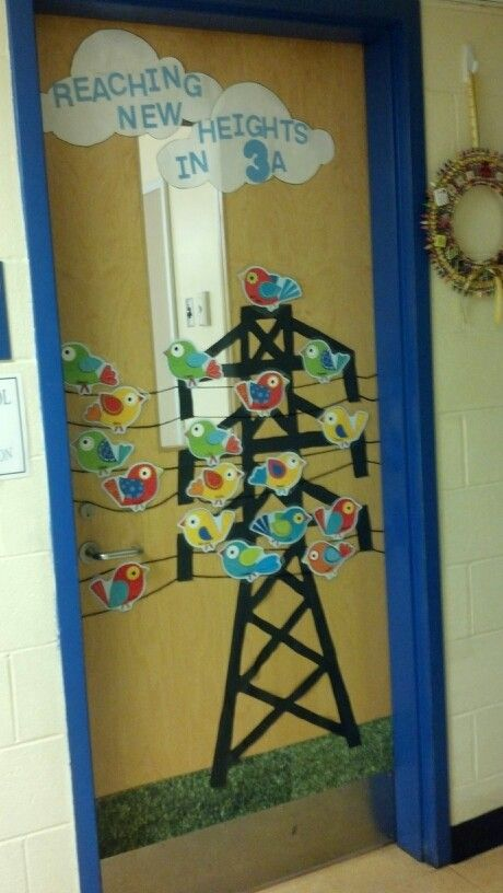 Classroom Ideas With Birds ~ Bird theme classroom door possible idea for teacher
