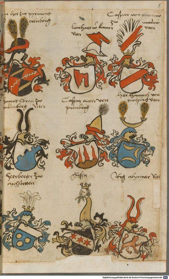 Wappen besonders von deutschen Geschlechtern Süddeutschland ?, 1475 - 1560 Cod.icon. 309  Folio 9r