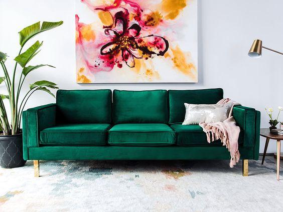 Bardot Velvet Sofa with Gold Legs | Modern Digs