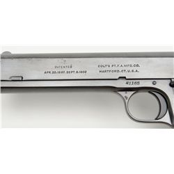 "Colt Model 1902 Military semi-auto pistol, .38 cal., 6"" barrel, blue finish, checkered black hard"