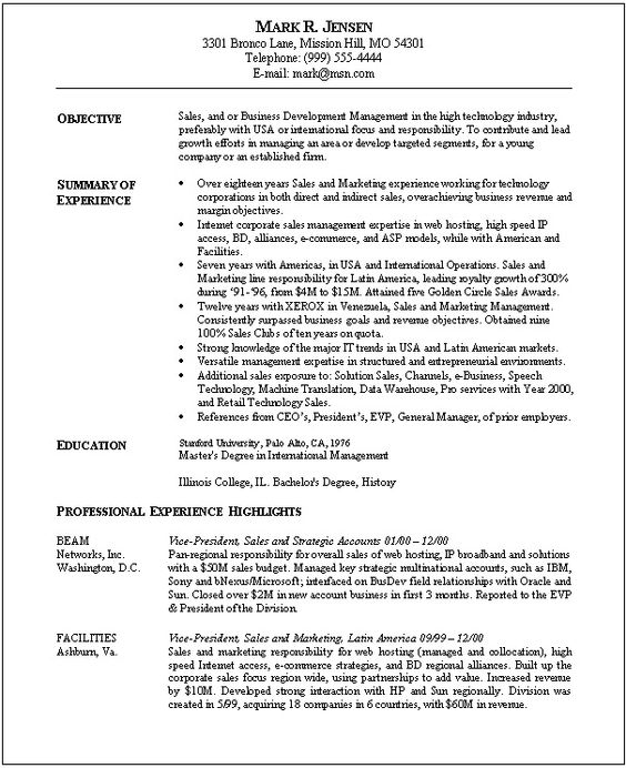 sales marketing functional resume