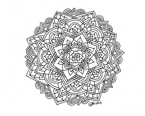 Difficult Level Mandala Coloring Pages Style