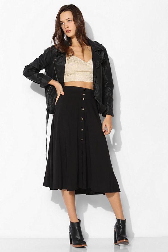 Ecote Button-Down Midi Skirt