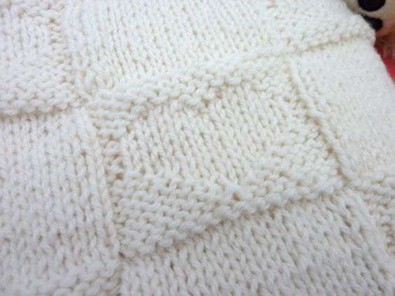 Baby Afghan Blanket with Heart Design / Hand Made by KidsKnitsUK