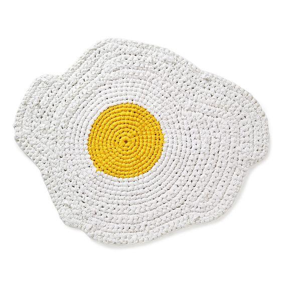 EGG RUGG | handmade, crocheted, novelty rugs | $60