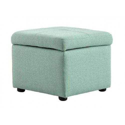 sea foam fabric square storage ottoman