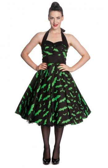 Adorable green bat print dress from Vampirefreaks!