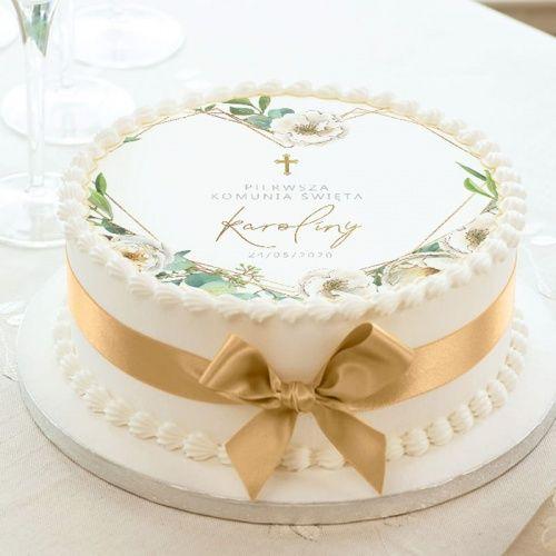 Oplatek Na Tort Komunijny Geometryczne Serce Z Imieniem Boy Communion Cake Baptism Cake Girl First Communion Cakes