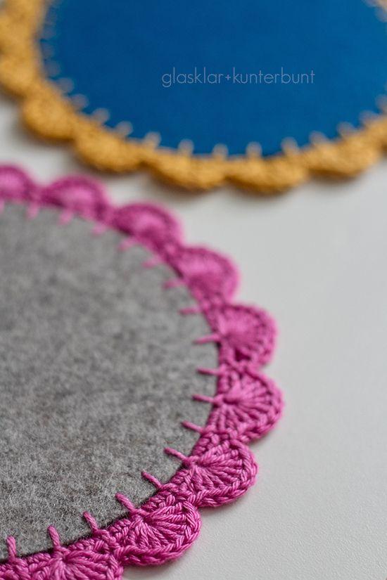 Felt coasters with crocheted edges. glasklar & kunterbunt: Häkelborte - Tutorial