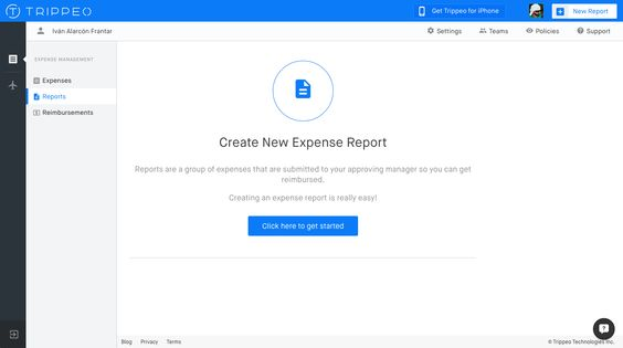 Empty state screen for creating a new expenses report Trippeo - expense report