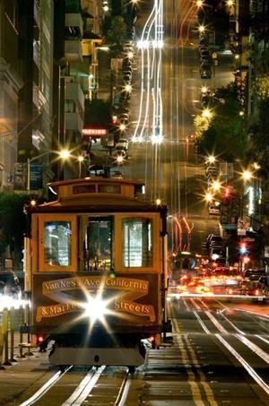 Beautiful San Fran Cable Cars At Night