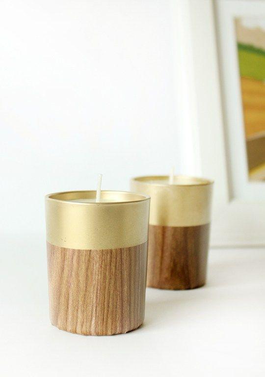 DIY Retro Faux Wood Candle Holder   Sugar & Cloth