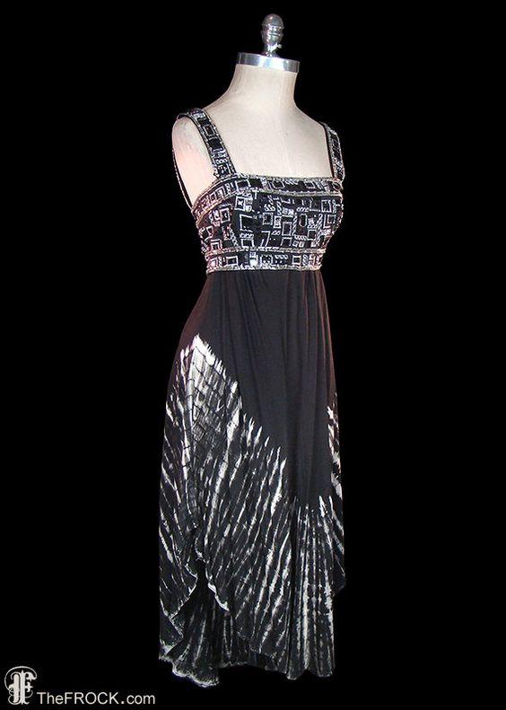 Halston dress, beaded jeweled embroidered, batik / tie-dye style print, 1970s / 1980s avant garde boho bohemian disco era couture