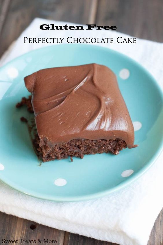 """Gluten Free Hershey's """"Perfectly Chocolate"""" Cake on sweettreatsmore.com You can't even tell it's gluten-free"""