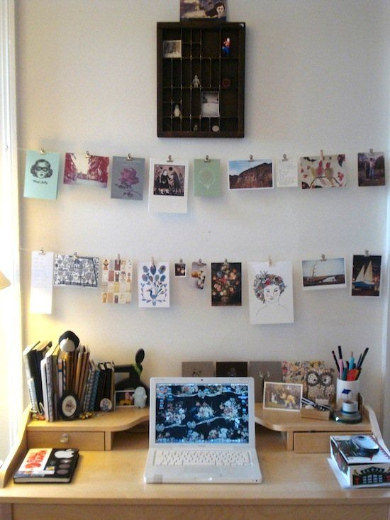 Hanging photo wall - I want to use pretty cards, paper swatches, photos, etc to create this.: