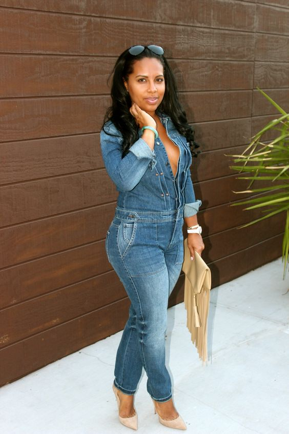 black women blogs denim jumpsuit: