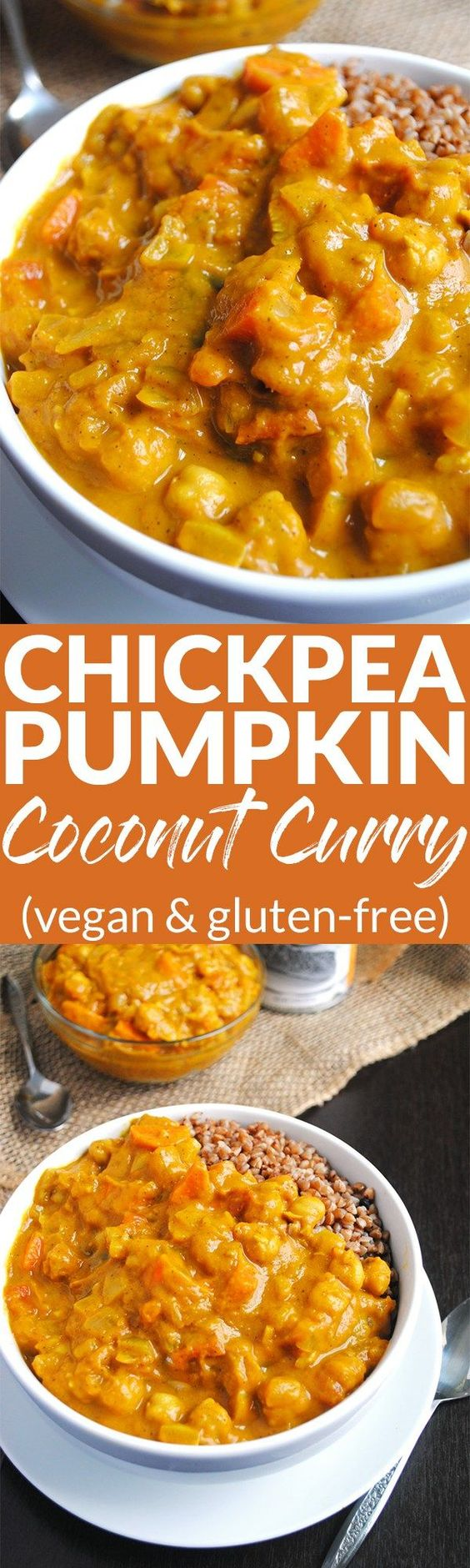 This easy Chickpea Pumpkin Coconut Curry is a delicious Vegan Chickpea Pumpkin Coconut Curry