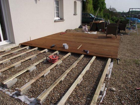 maison ossature bois nord terrasse bois 14 DIY Pinterest - construction terrasse en bois sur parpaing