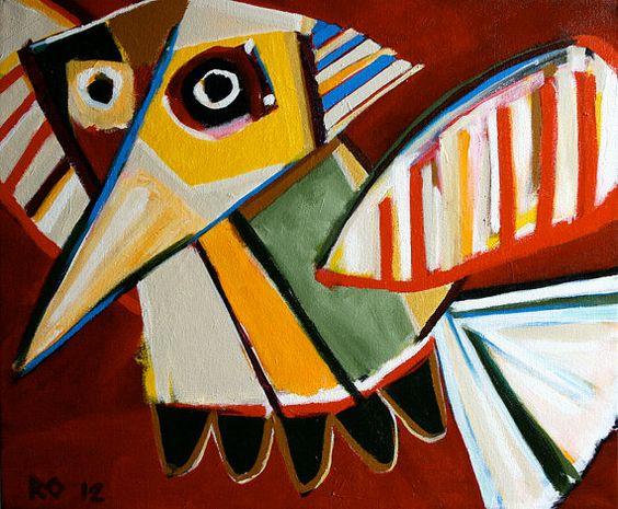 ORIGINAL BIRD PAINTING Modern Dutch Art 24x20 in by ropaintings, $400.00