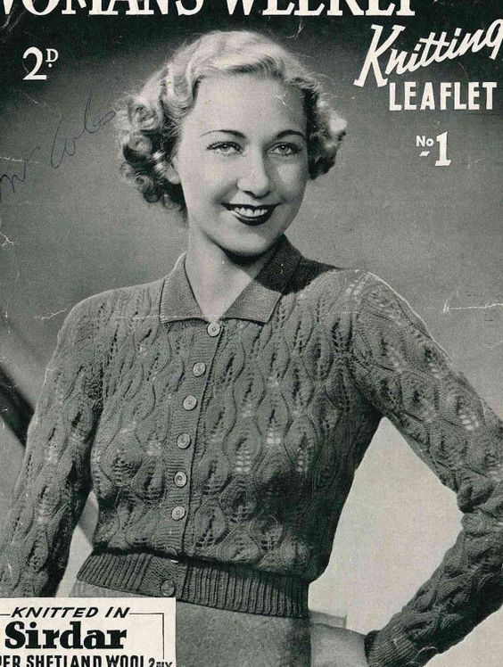Early 1930s knitted lace cardigan, Womans Weekly No.1 - Vintage Knitting Pattern PDF (303)