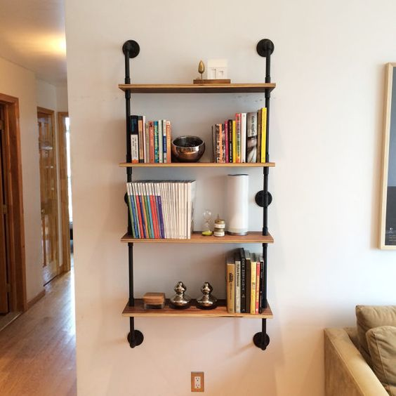 this wall mounted shelving unit is 30 wide 9 deep and 65. Black Bedroom Furniture Sets. Home Design Ideas