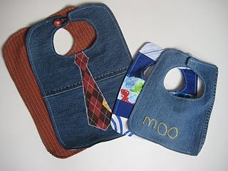 Upcycled Jeans and Men's Shirts into Baby Bibs