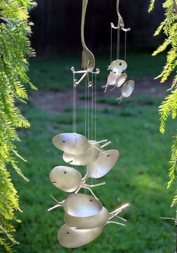 Engraved xxl silver spoon fish wind chime customized with for Koi fish wind chime