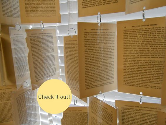 Window treatment with book pages. CUTE!!!: