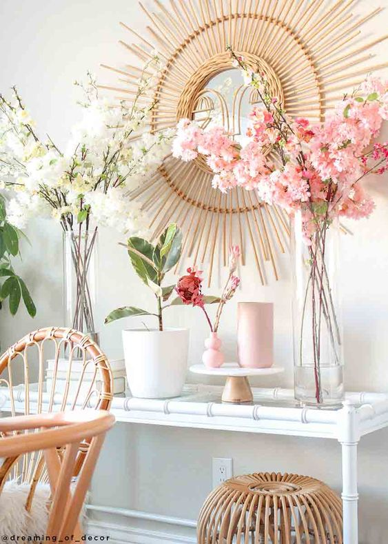 Artificial Spring Cherry Blossoms In Cream 40 Home Flower Decor Cherry Blossom Decor Cherry Blossom Bedroom