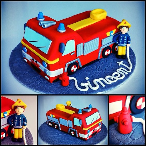 sam firetruck cake anniversaire enfant birthday cake and party candy bar pinterest. Black Bedroom Furniture Sets. Home Design Ideas