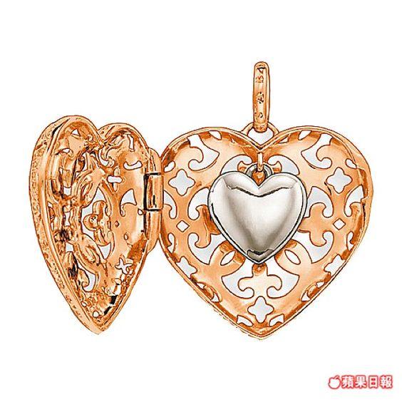 雙心玫瑰金鍊墜內藏有1顆純銀打造的立體迷你愛心。 1萬3400元