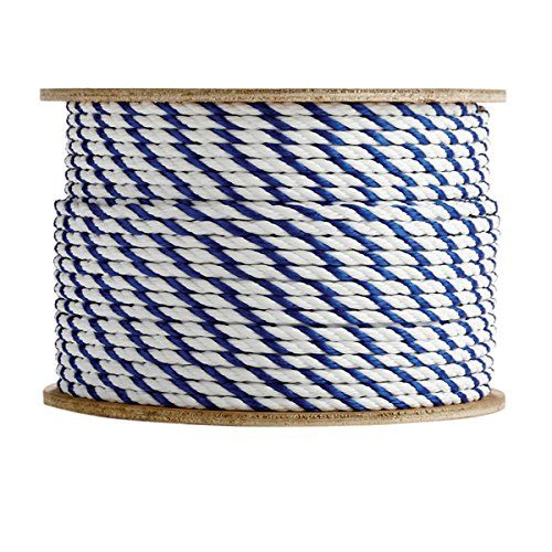 Sgt Knots Twisted Polypropylene Pool Rope 1 4 Inch 3 4 Inch 3 Strand Polypro Cord Lightweight Utility Rope For Landli Rope Climbing Rope Blue And White