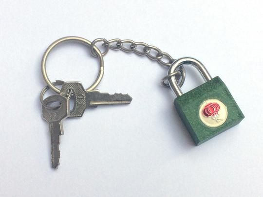 Green Metal Lock Key Chain With Two Keys Keychain Retro Accessories Locks Key
