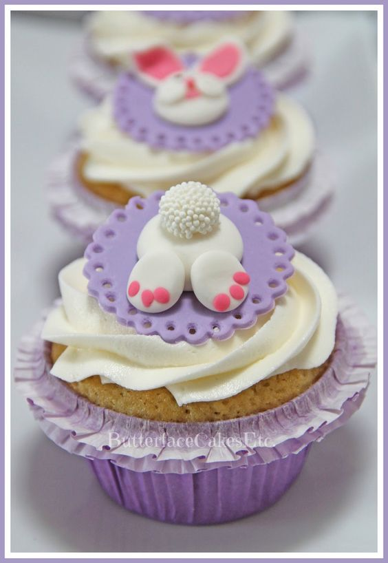 Easter Bunny fondant cupcake toppers: Bunny Butts! #easter ...