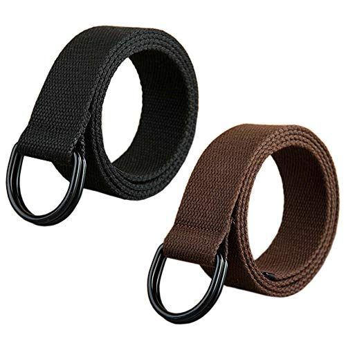2 Pcs Canvas Web Belt With Black Double D Ring Buckle Military