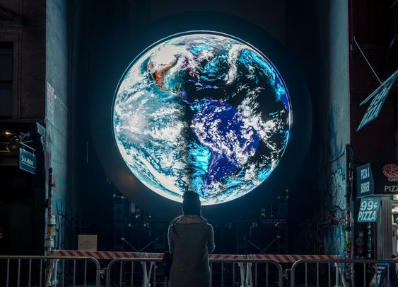 Led Display Technology And Software Come Together To Project Sebastian Errazuriz Blu Marble An Evocative Live Satellite Art Earth From Space Japanese Artists