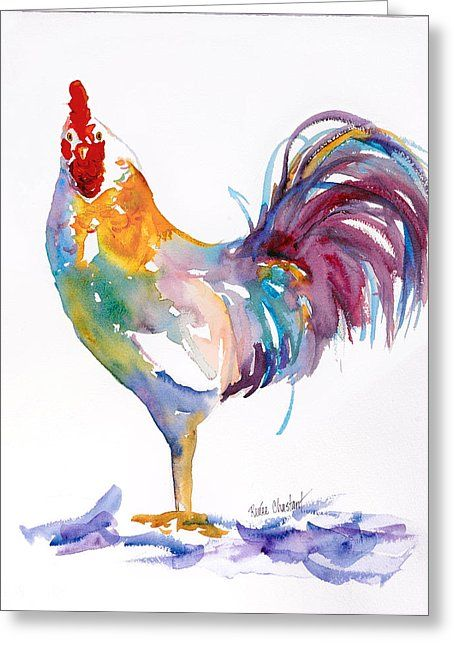 Rainbow Rooster Greeting Card by Renee Chastant