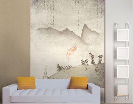 Asian silence wallpaper mural oriental feature wall for Asian mural wallpaper
