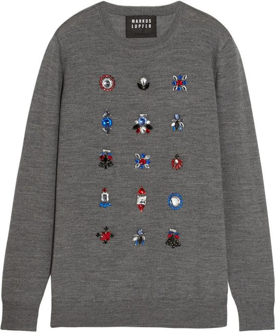 Pin for Later: 50 Christmas Jumpers That'll Satisfy Your Festive Fashion Urges  Markus Lupfer Natalie Crystal-Embellished Merino Wool Sweater  (£280)