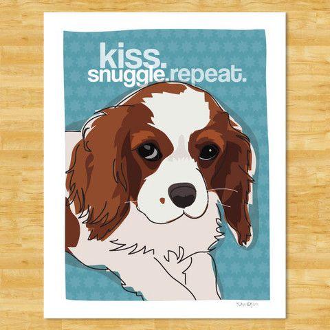Custom Dog Portraits: Puppy Love, Cavalier King Charles, Dog Portraits, King Charles Spaniels