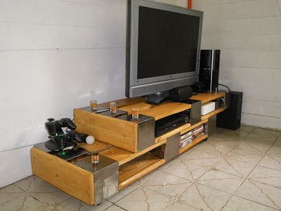 Modern pallet tv stand with sheet metal wrapped accents