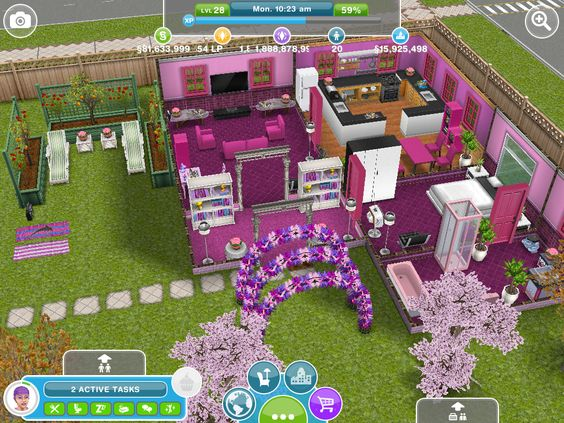 Maisons roses sims and maison on pinterest for Modele maison sims freeplay