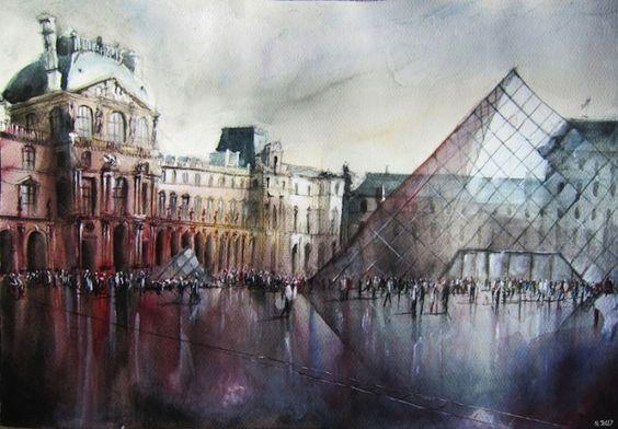 L'artiste français Nicolas Jolly réalise de subtiles et magnifiques peintures de paysages urbains.  Il capture le charme architectural des villes mais aussi les mouvements de foules. De la Sorbonne au Louvre à Paris, du Pont de Pierre à Bordeaux… le peintre réussit à créer des interprétations artistiques à l'aquarelle de ces moments fugaces et magiques. Il fournit un point de vue rafraîchissant qui dévie d'une représentation littérale tout en s'avançant un peu vers l'abstraction.
