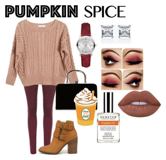 """""""Pumpkin Spice"""" by sas-queen on Polyvore featuring Ryan Roche, Steve Madden, Boohoo, Burberry, Demeter Fragrance Library and Lime Crime"""