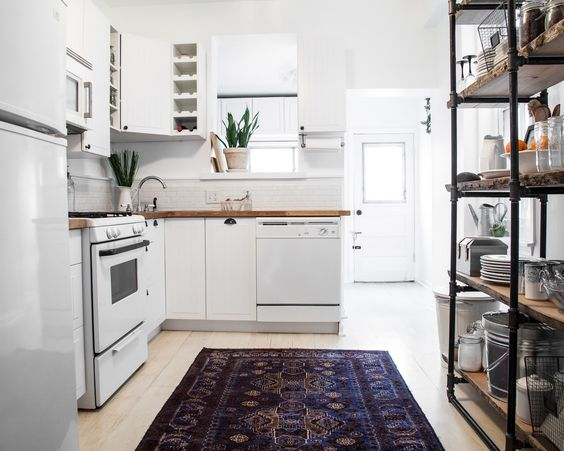 andchristina: DIY PROJECT: Kitchen Rehab with Dining Nook (lots of paint, subway tile backsplash, industrial shelving unit with reclaimed wood planks)