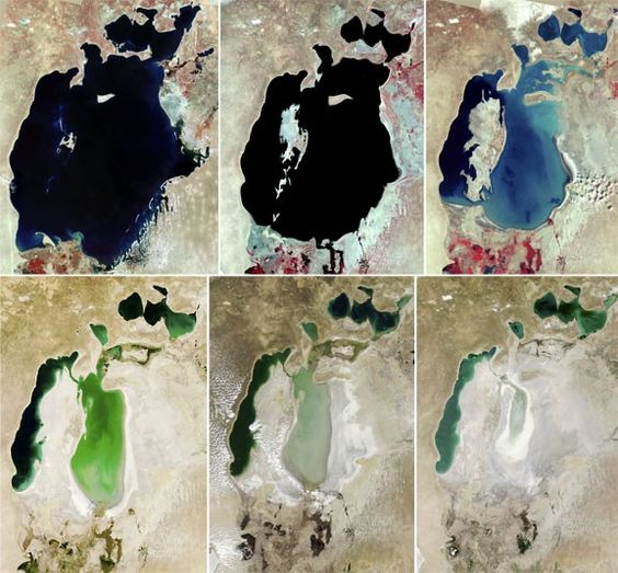 Aral sea dries up over the past three decades due to rerouting of its tributaries for irrigation projects