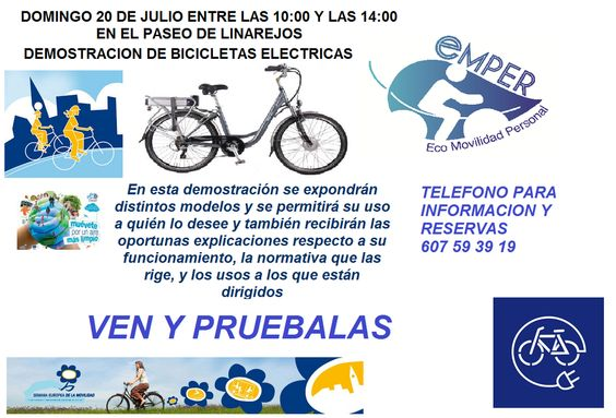 El domingo os esperamos en el Paseo de Linarejos, allí podréis probar una e-bike.